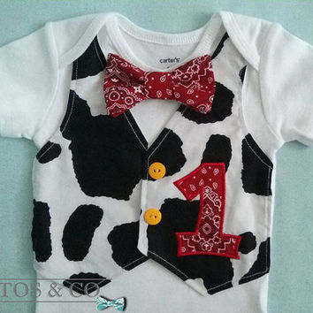 Cowboy Vest  Bodysuit  - Bandana Bow Tie - First Birthday Bodysuit - Cake Smash Outfit - Tuxedo Bodysuit - Baby Boy Birthday
