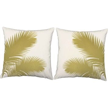 Metallic Gold Palm Fronds Throw Pillows