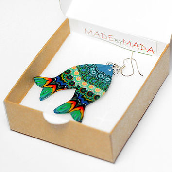 Fish shaped Earrings Blue & Green  Dangle Jewelry 2-sided , gift for her under 20