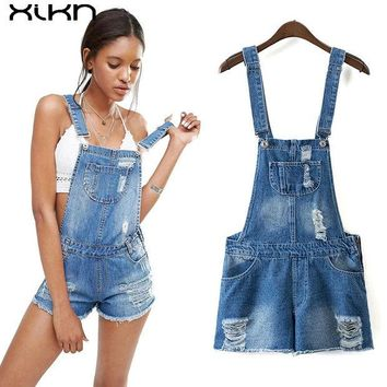 DCCKNY6 Womens Jumpsuit Denim Overalls 2017 Summer Jumpsuits Rompers Casual Strap Hole Ripped Pockets Shorts Jeans Pocket Coverall AI142