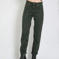 Vintage Levis 550 High Waisted Jeans - Hunter Green - Mom Jeans High Waisted Jeans - Size 28 Waist - Boyfriend Jeans Levi - Minimal Grunge