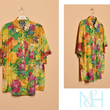 Vintage 1990s Tropical Floral Silk Button-up with Chest Pocket