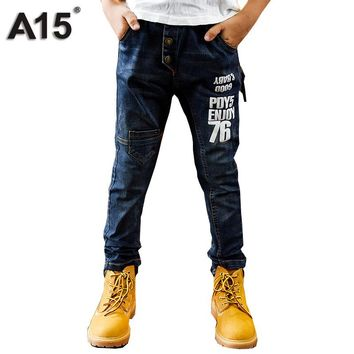A15 Boys Jeans Slim Pants 2017 Fashion Denim Jeans Kids Pants Children Trousers Spring Teenage Clothing Big Size 8 10 12 14 Year