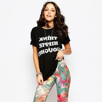 Black Think Hippie Thoughts T-Shirt