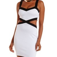 Black/White Color Block Cut-Out Dress by Charlotte Russe