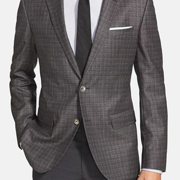 BOSS 'Hutsons' Trim Fit Plaid Wool Sport Coat,