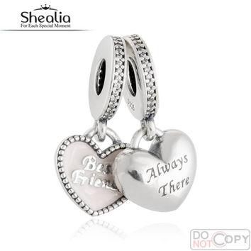 925 Sterling Silver Jewelry Best Friends Hearts Pendant Charms Fit Pandora Bracelet So