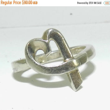 ON SALE NOW 925 Sterling Tiffany & Co Ring, Paloma Picasso Ring, Authentic, Designer, Loving Heart Ribbon Ring, Collectible Jewelry, Gift id