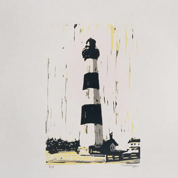 Bodie Island Lighthouse reduction print Outer Banks linocut