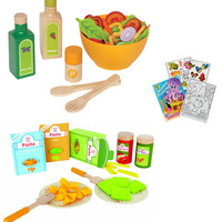 Hape E3116 Garden Salad and E3125 Pasta Wooden Play Food Sets with Coloring Book