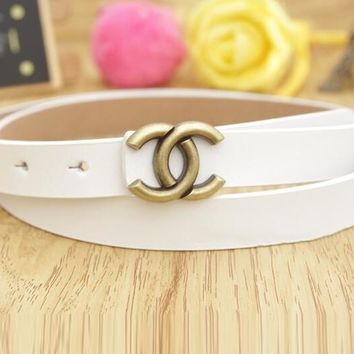 Hot Sale Woman Men Casual Smooth Buckle Leather Belt White