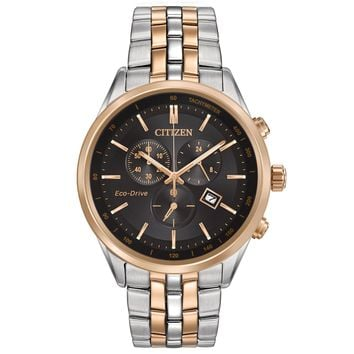 Men's Citizen Eco-Drive Sapphire Two-Tone Black Dial Watch