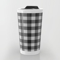 Sleepy Black and White Plaid Travel Mug by RichCaspian