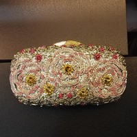 Luxury Rhinestone Crystal Minaudiere Hard Mini Clutch