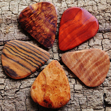 SALE: Buy 4 Get the 5th one FREE - Wooden Guitar Picks - (Choose Wood Types)