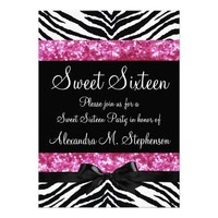 Pink Glitter Zebra Bow Sweet Sixteen Personalized Invitation from Zazzle.com