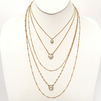 Crystal Down Layered Necklace In Gold