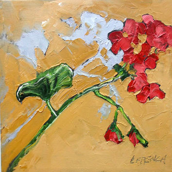 GERANIUM Oil Painting Impressionist SUMMER Garden Still Life Art Lynne French 10x10