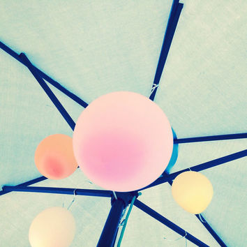 Pastel Balloon Photography | Pastel Balloons + Beach Umbrella Poolside | Digital Download | Fine Art Printable Photography | Printable Photo