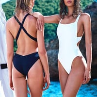 Backless Solid One Piece Swimsuit Swimwear