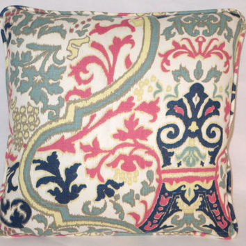 "Aqua and Pink Ikat Throw Pillow Navy Yellow Scroll Medallion Welted Linen  17"" Square Ready to Ship Cover and Insert"