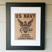 US Navy Burlap Print - Framed