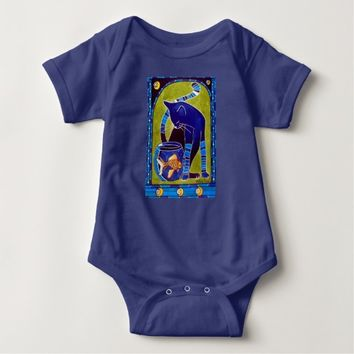 Blue Cat With Goldfish Whimsical Cat Art Baby Bodysuit