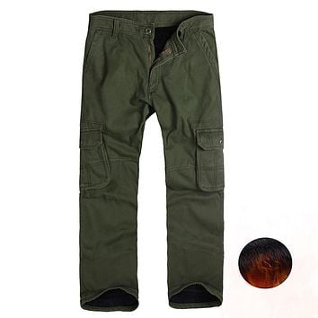 Winter Fleece Lined Men's Cargo Double Layer Pants Warm Military Cargo Pants Casual Long Baggy Army Tactical Trousers