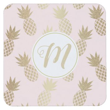 Gold Pineapple Pattern & Monogram Square Paper Coaster