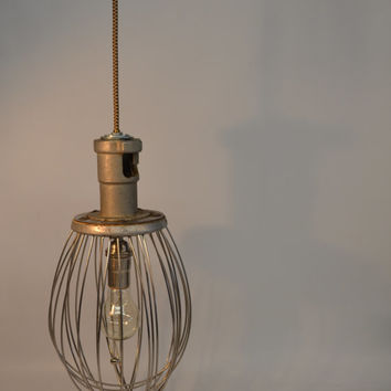 Vintage Industrial Whisk Pendant Lamp Cottage Chic Lighting Hobart Whisk Lamp Art Deco Shabby Chic Lamp Man Cave Minimalist Farmhouse Decor