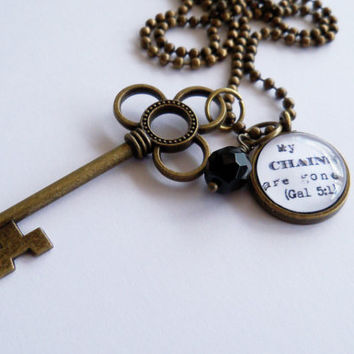 My Chains Are Gone - Necklace - Key Pendant - Text Charm Neckalce - Inspirational Jewelry - Custom Jewelry -  Christian - You Choose Bead