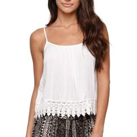 LA Hearts Gauze Crochet Tank - Womens Shirts - White -