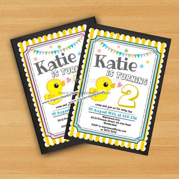 Birthday Invitation, baby Girl birthday party , any age, first 1st 2nd 3rd 4th 5th 6th 7th 8th 2color to choose from- card 578