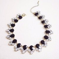 Black Crystals Collar Statement Necklace