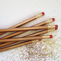SALE - Sparkle & Shine Engraved Pencils - Gold Pencil Set of 6 - By A Blissful Nest - Sale Until 12/1