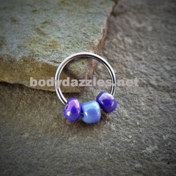 Captive Hoop Cartilage Earring with Purple and Blue Bead Body Jewelry Helix Tragus Daith 16ga Upper Ear Jewelry 316L Surgical Stainless Steel