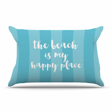 "Sylvia Cook ""Beach is My Happy Place - Blue"" Aqua Typography Pillow Sham"
