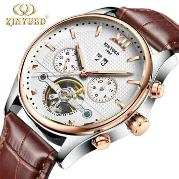 Kinyued Real Mechanical Watches Men Hot Fashion Automatic Tourbillon Leather Band Wristwatches Gold Reloges Skeleton Hand Watch