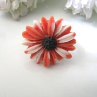 Orange And White Daisy Adjustable Ring | Luulla