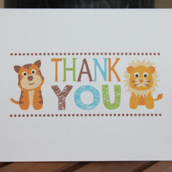 Jungle Animals Safari Printed Note Card - Birthday, Thank You, Baby Shower