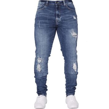 NIBESSER Hip Hop Stretch Ripped Jeans Skinny Jeans For Men Blue Streetwear Cotton Hombre Slim Fashion Pencil Pants Male Dropship