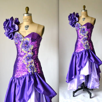 80s Prom Dress with Purple Sequin Ruffle Sleeves// 80s Pageant Dress by Alyce Designs Size Small Medium