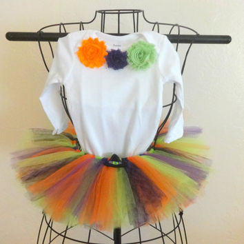 Baby girl Halloween tutu, Infant girl Halloween costume, Witch baby Halloween tutu and top, Size 3 to 6 month girls Halloween costume