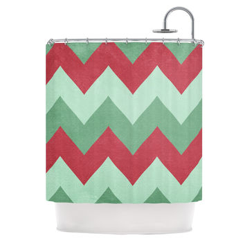 "Catherine McDonald ""Holiday Chevrons"" Shower Curtain"