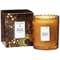 VOLUSPA EMBOSSED GLASS SCALLOPED EDGE CANDLE - BALTIC AMBER