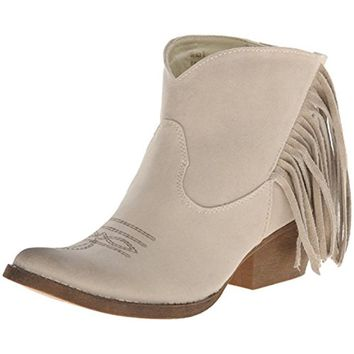 Spite Womens Spektor Faux Suede Fringe Ankle Boots