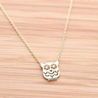 OWL necklace in gold  by bythecoco on Zibbet