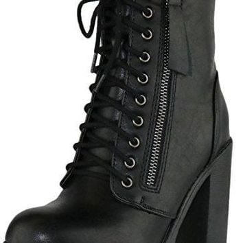 Cambridge Select Women's Closed Round Toe Lace-Up Chunky Heel Moto Combat Boot