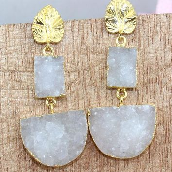New Designer White Natural Agate Druzy 24k Gold Electroplated Earring Jewelry
