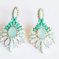 Fancy Sophisticated Jeweled Mint Green Teardrop Shaped Earrings - Khloe